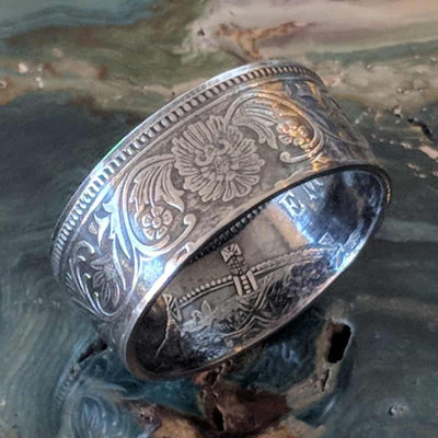 Silver British India One Rupee Coin Ring - 1911-1939