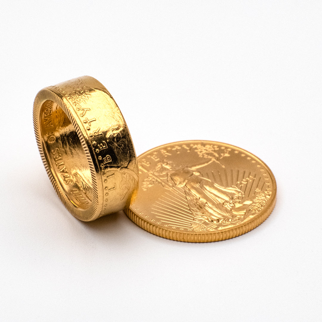 US gold bullion turned into a beautiful gold coin ring.