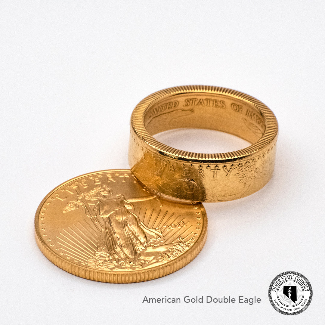American Gold Eagle coin ring with half ounce Gold Double Eagle coin