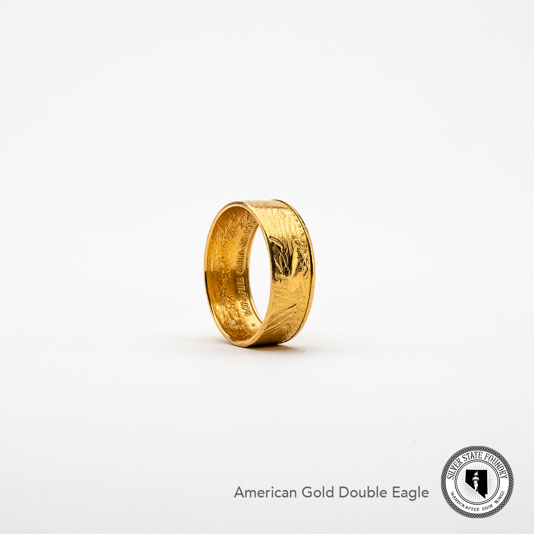 Full ounce of Gold in an American Gold Eagle Coin Ring