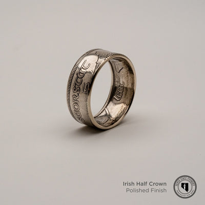 Irish Silver Half Crown Coin Ring