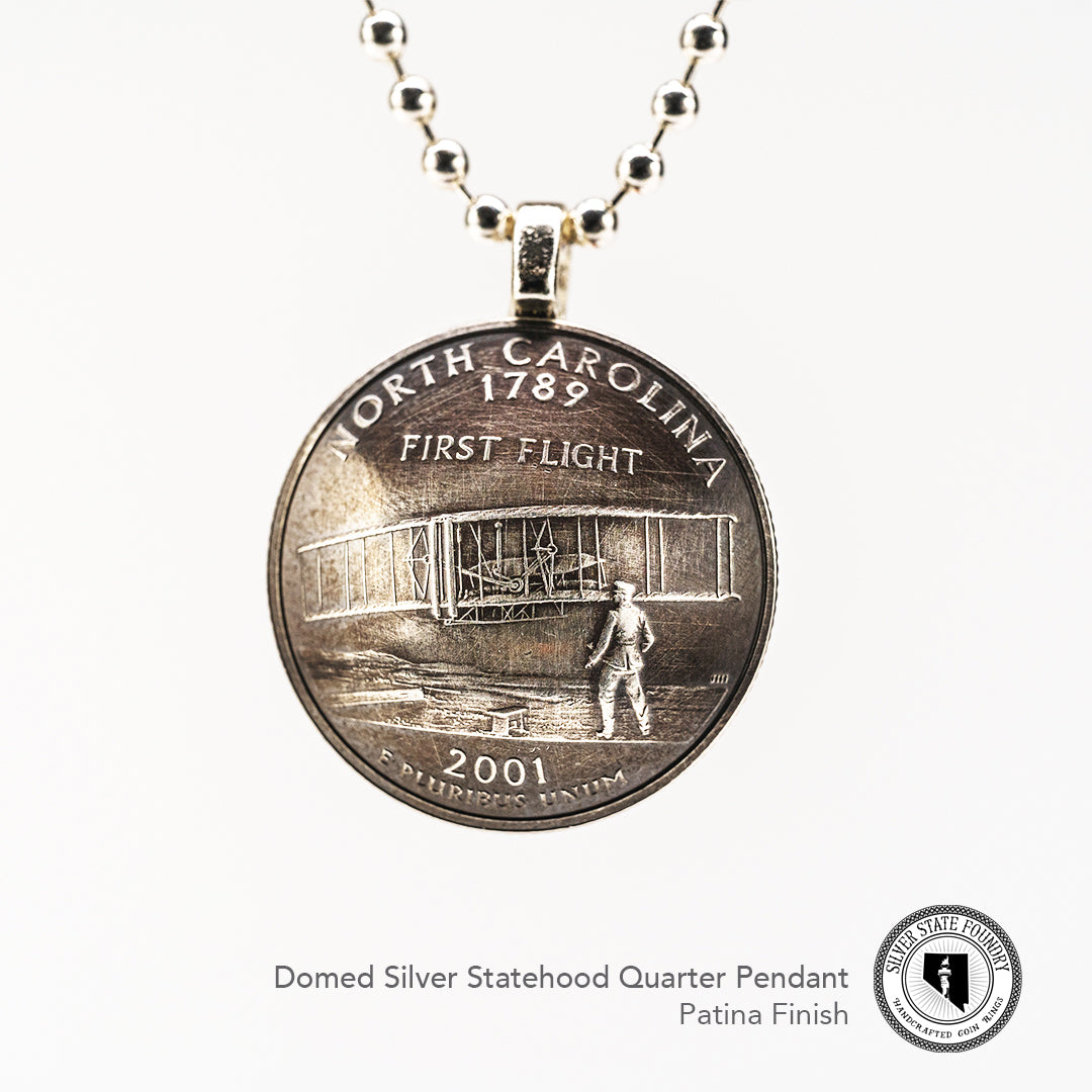 Silver Statehood Domed Quarter Pendants