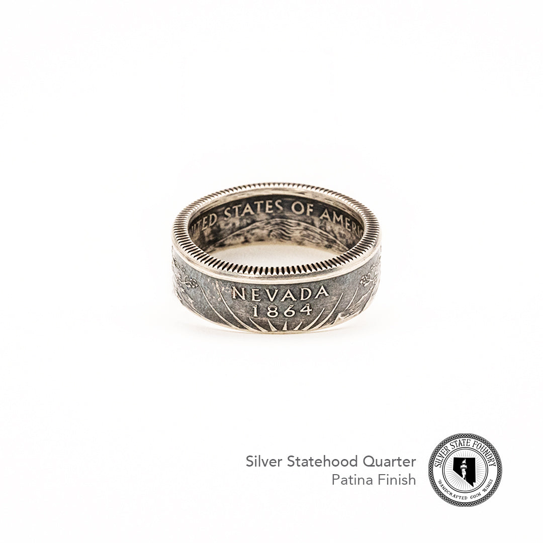 Silver State Quarter Coin Rings
