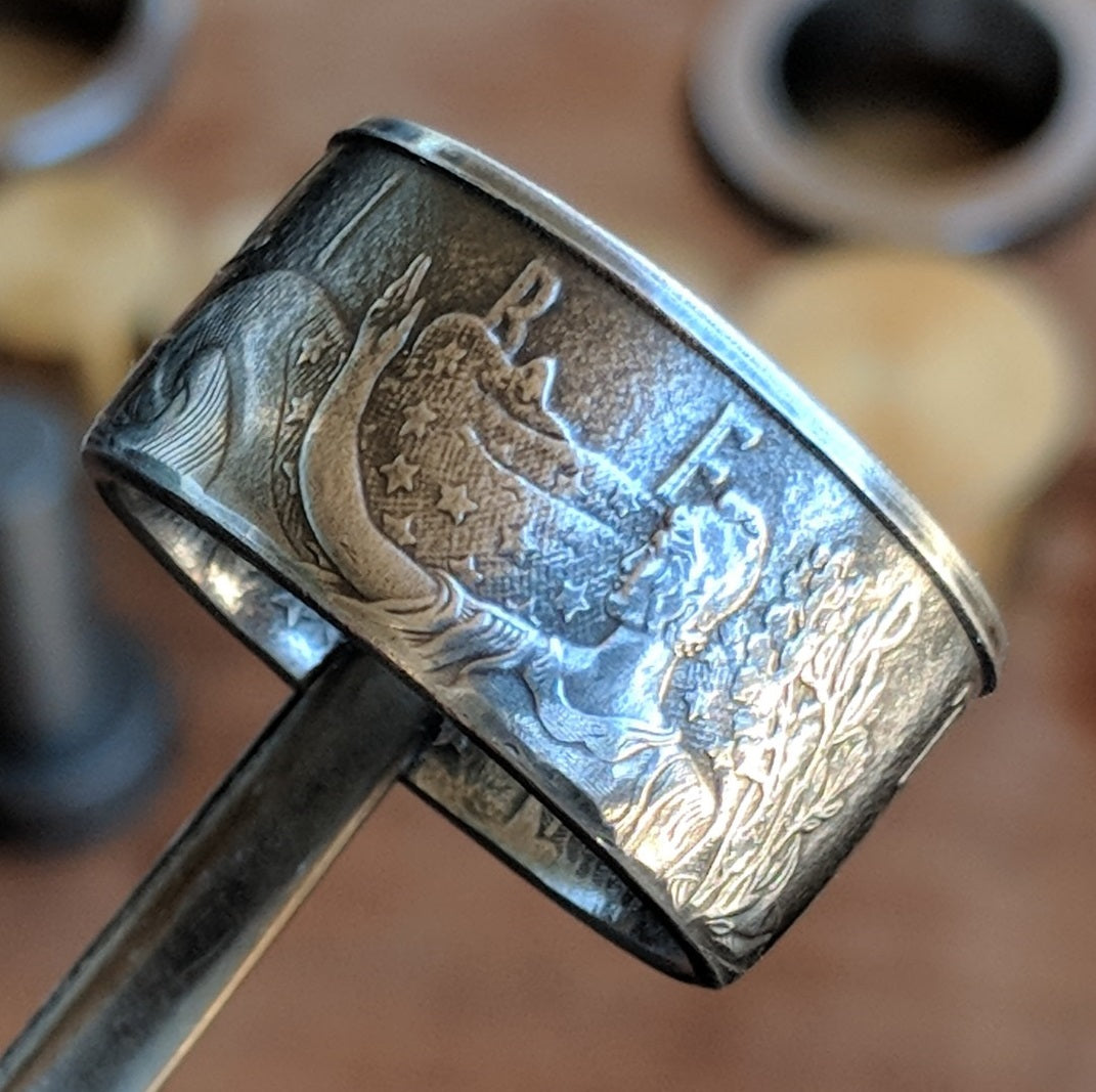Silver Eagle Coin Ring with straight walls and patina to make the detail Pop.
