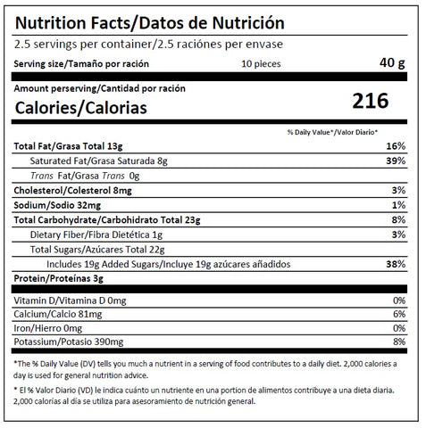 Deziria 30% Milk Chocolate Nutrition Facts Nutritional Information