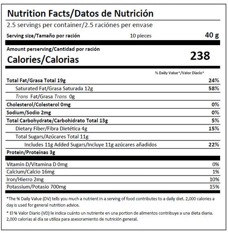 Deziria 70% Dark Chocolate Nutritional Information Nutrition Facts