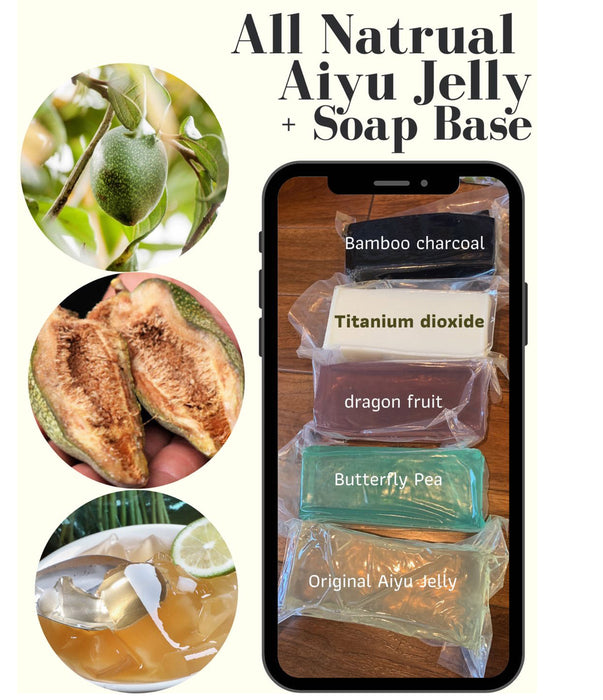 All Natural Ingredients Soap Base of Aiyu Jelly with Glycerin and Coconut (5 Different Scents)