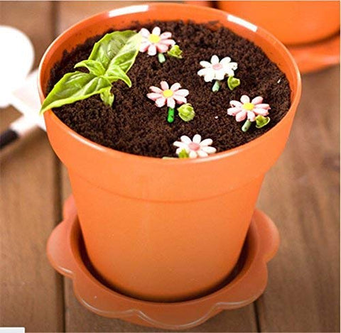 JJMG 6 Pack Colorful Mini Plastic Flower Pot Shape Inspired Customized Cupcake Tiramisu Cups with Trays and Shovel Spoons