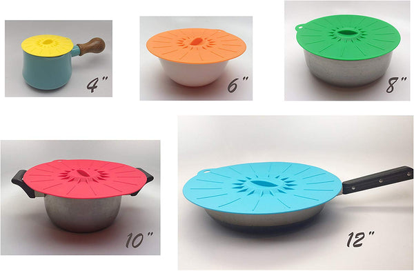 Food Grade Silicone Bowl Lids Food Saver Covers (Set of 5)