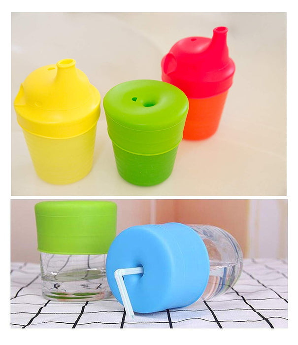 JJMG New Silicone Elephant Sprout Cup Lids with Spill Proof Design and Boon Snug Straw with Splash Resistant Covers for Babies and Toddlers