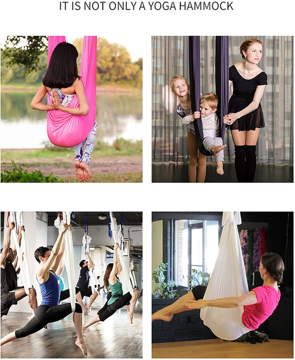 JJMG New Aerial Yoga Hammock Silk Fabric Swing Wide Flying Yoga Inversion Tool Pilates for Beginner and Advanced Yogis Men and Women
