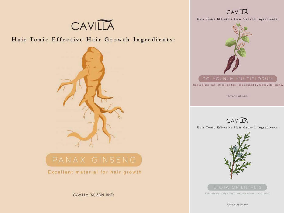 CAVILLA Hair Tonic Growth Serum Topical Herbal Formula With Ginseng Designed Specifically for Thinning Hair Help Grow Healthy, Strong Hair for Men and Women All Types Hair Loss (30ml)