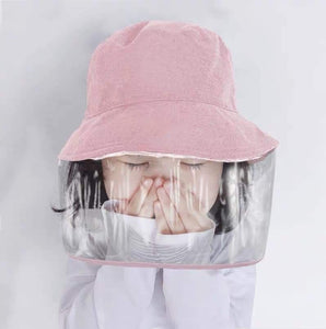 Pink kids hat with Faceshield