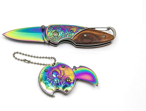 JJMG NEW Rainbow Spider Web Plastic Ceramic Lightweight Portable Hunting Knife Versatile Pocket Ebony KeyChain Design