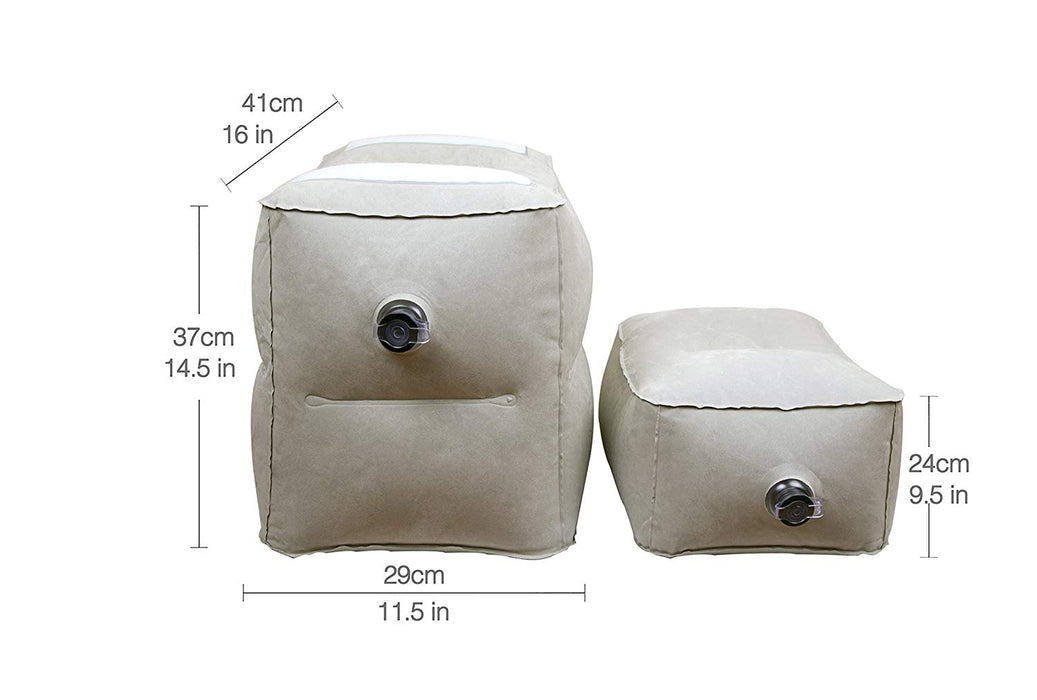 JJMG 3 Tiered Inflatable Detachable Leg Rest Travel Pillow