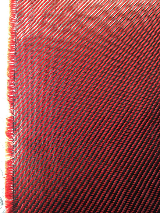 Carbon Fiber Fabrics Cloth Wrap 3k 200g/m2 Twill Weave (Red)