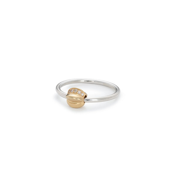Penta Giro Silver Champagne Diamond Ring / Yellow