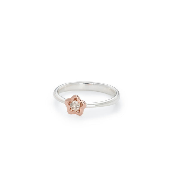 Penta Miele Silver + Champagne Diamond Ring / Rose