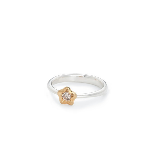 Penta Miele Silver + Champagne Diamond Ring / Yellow