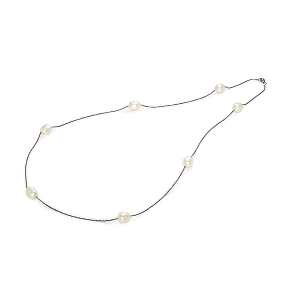 Filo Luce Silver Pearl Necklace / Black