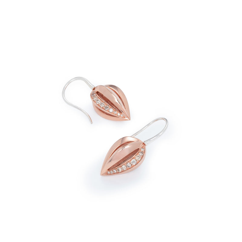 Penta Giro Silver Champagne Diamond Earrings / Rose