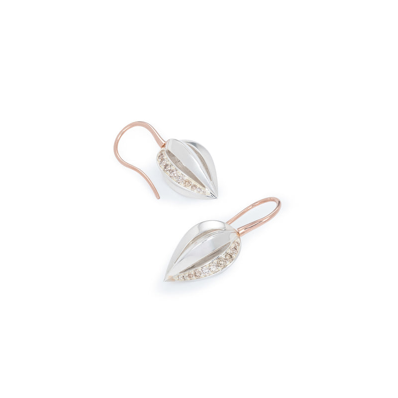Penta Giro Silver Champagne Diamond Earrings / White