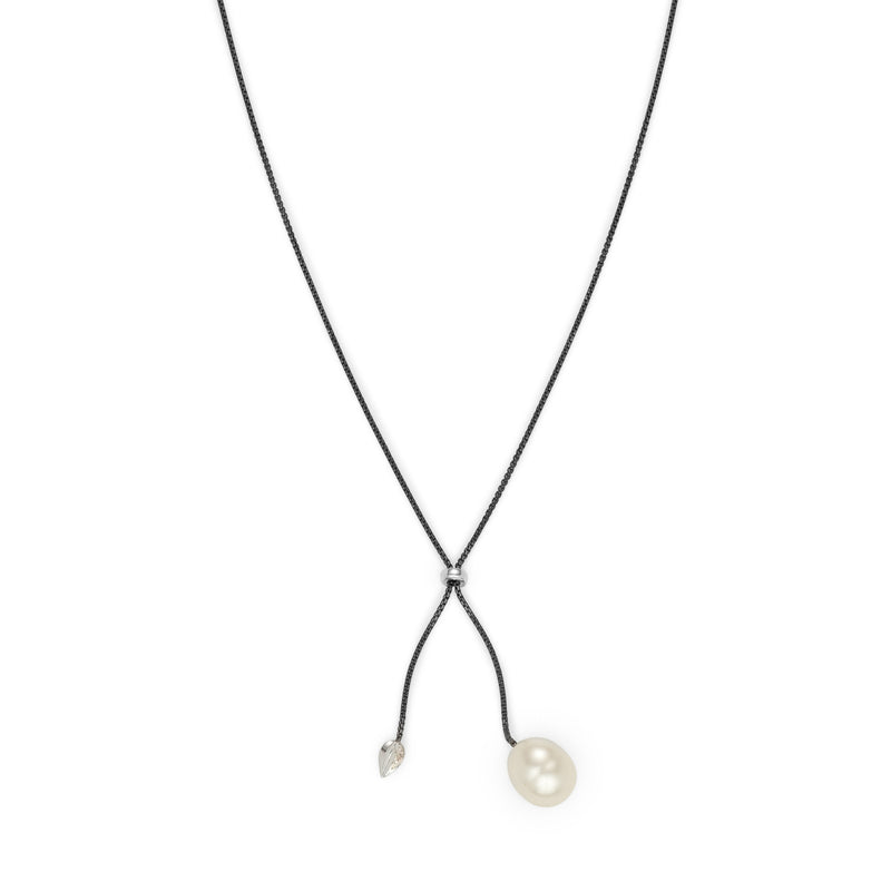Penta Luce Champagne Diamond + South Sea Pearl  Necklace / Black & White