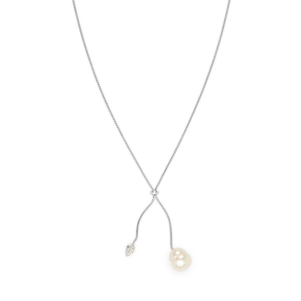 Penta Luce Champagne Diamond + Pearl Necklace / White