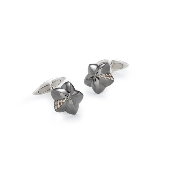 Penta Miele Silver + Champagne Diamond Cufflinks / Black & White