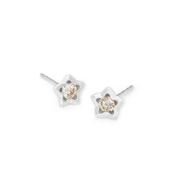 Penta Miele Silver + Champagne Diamond Earrings / White