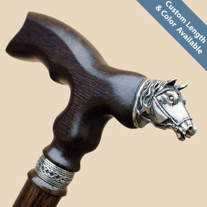 Horse Walking Cane - Custom Length and Color