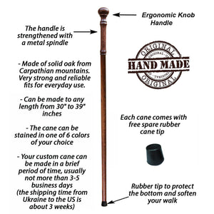 Stylish Knob Cane, Custom Length & Color