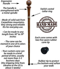 Fancy Knob Walking Stick Sturdy Wooden Cane - Custom Length & Color