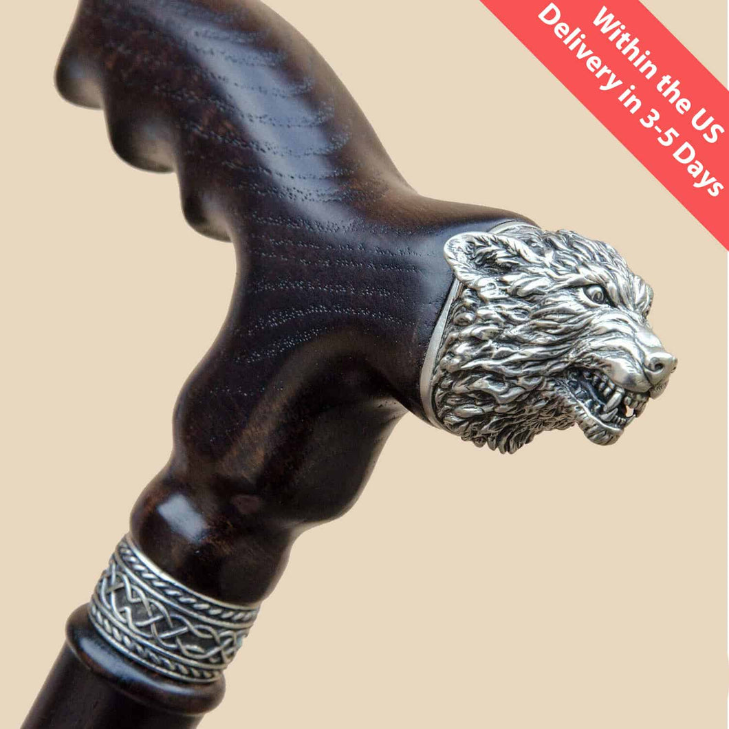 Angry Wolf Walking Cane, Exclusive Design