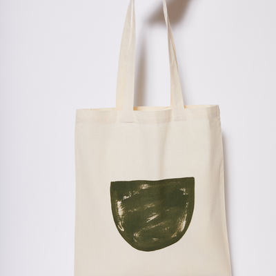 Reusable Calico Tote Bag - Olive half moon-Every Sunday
