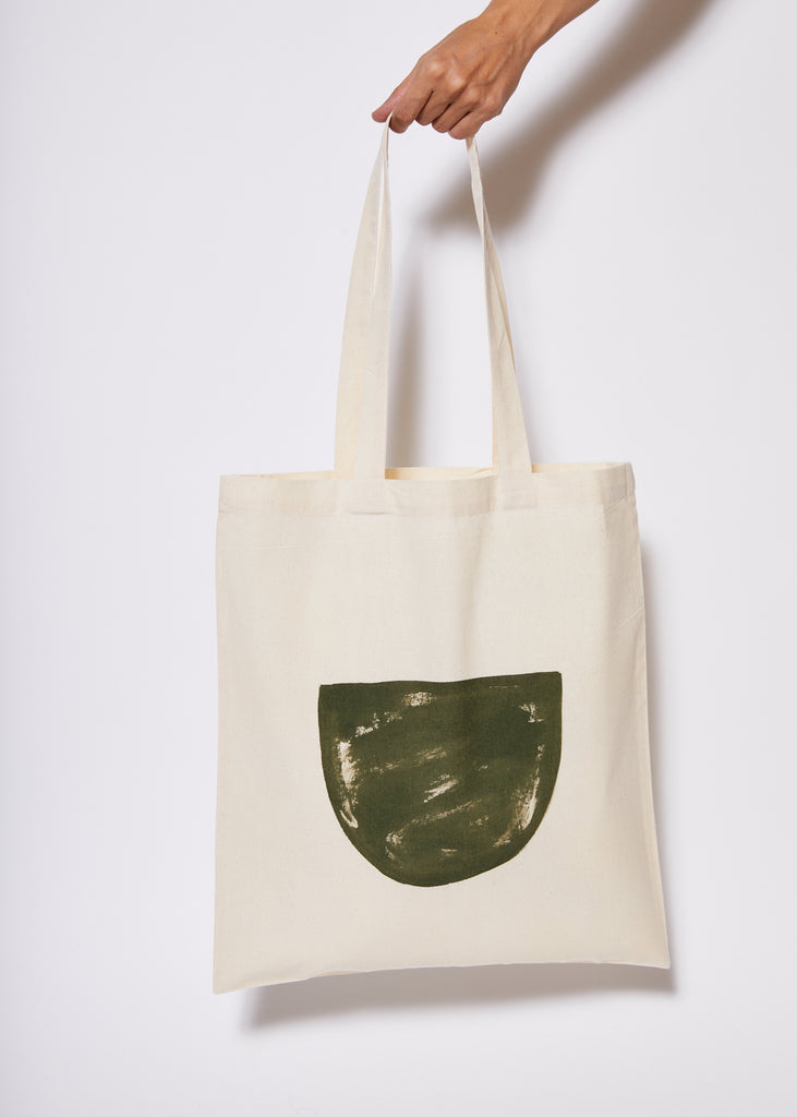 Reusable Calico Tote Bag - Olive half moon