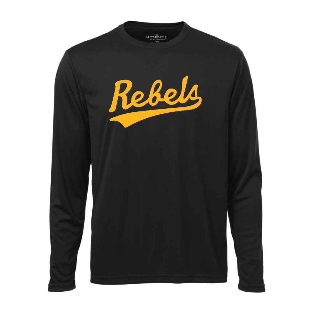Rebels Athletics ATC™ Long Sleeve Performance Shirt - Vintage Rebels Logo - Black