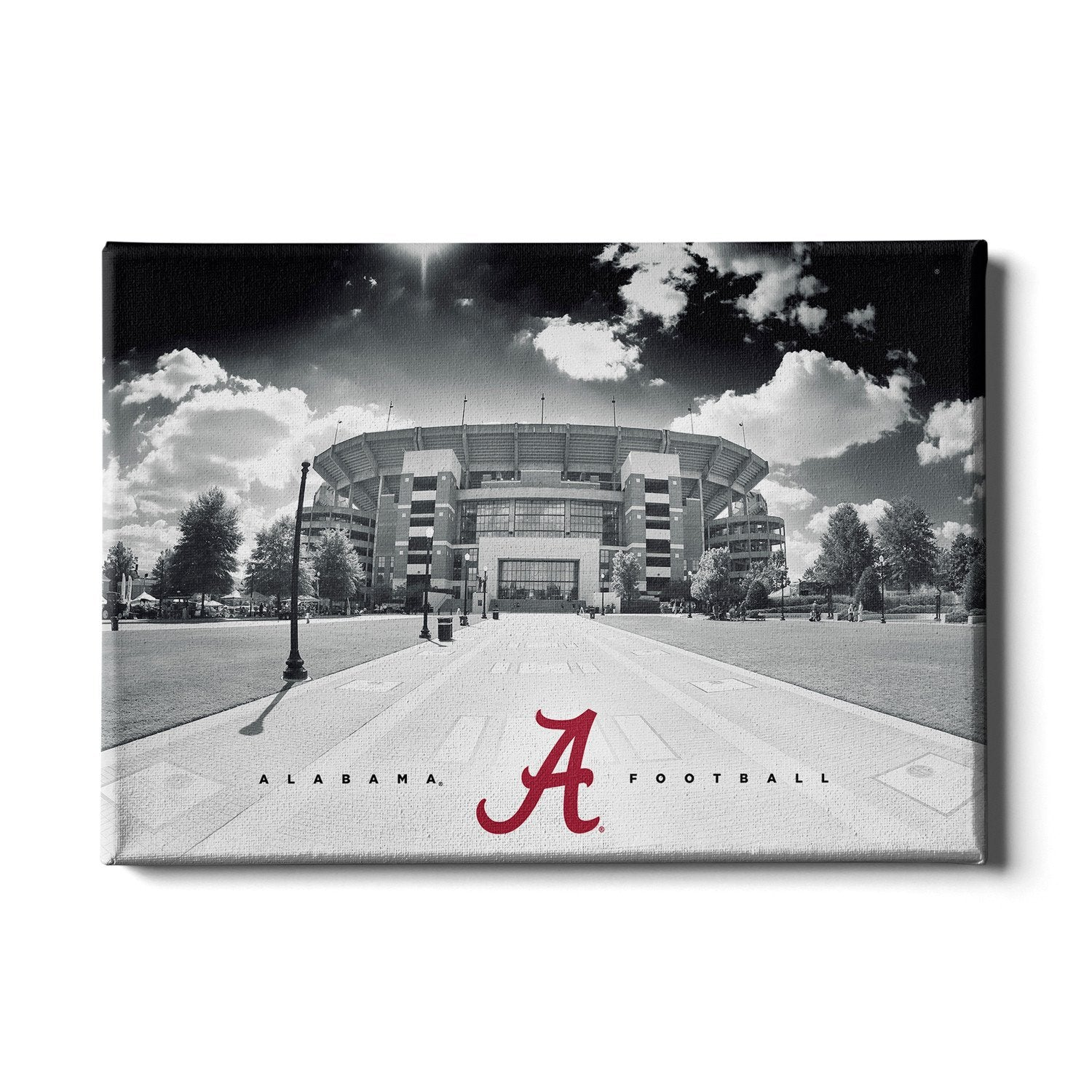 Alabama Crimson Tide - Bryant Denny Black & White - College Wall Art #Canvas