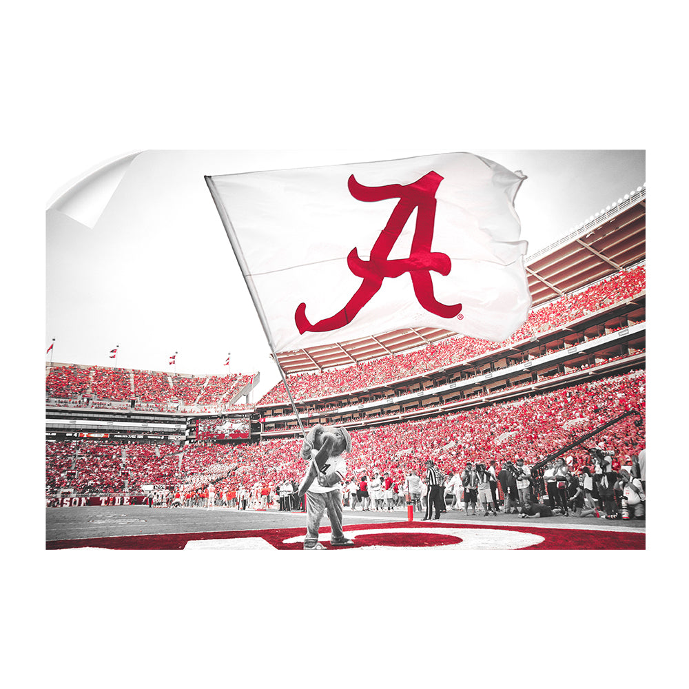 Alabama Crimson Tide - Big Al Flag - College Wall Art#Canvas