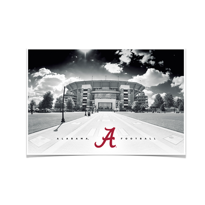 Alabama Crimson Tide - Bryant Denny Black & White - College Wall Art #Poster
