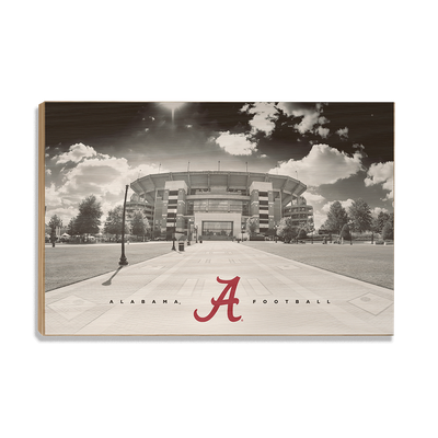 Alabama Crimson Tide - Bryant Denny Black & White - College Wall Art #Wood