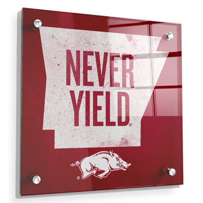 Arkansas Razorbacks - Arkansas Never Yield State - College Wall Art #Acrylic