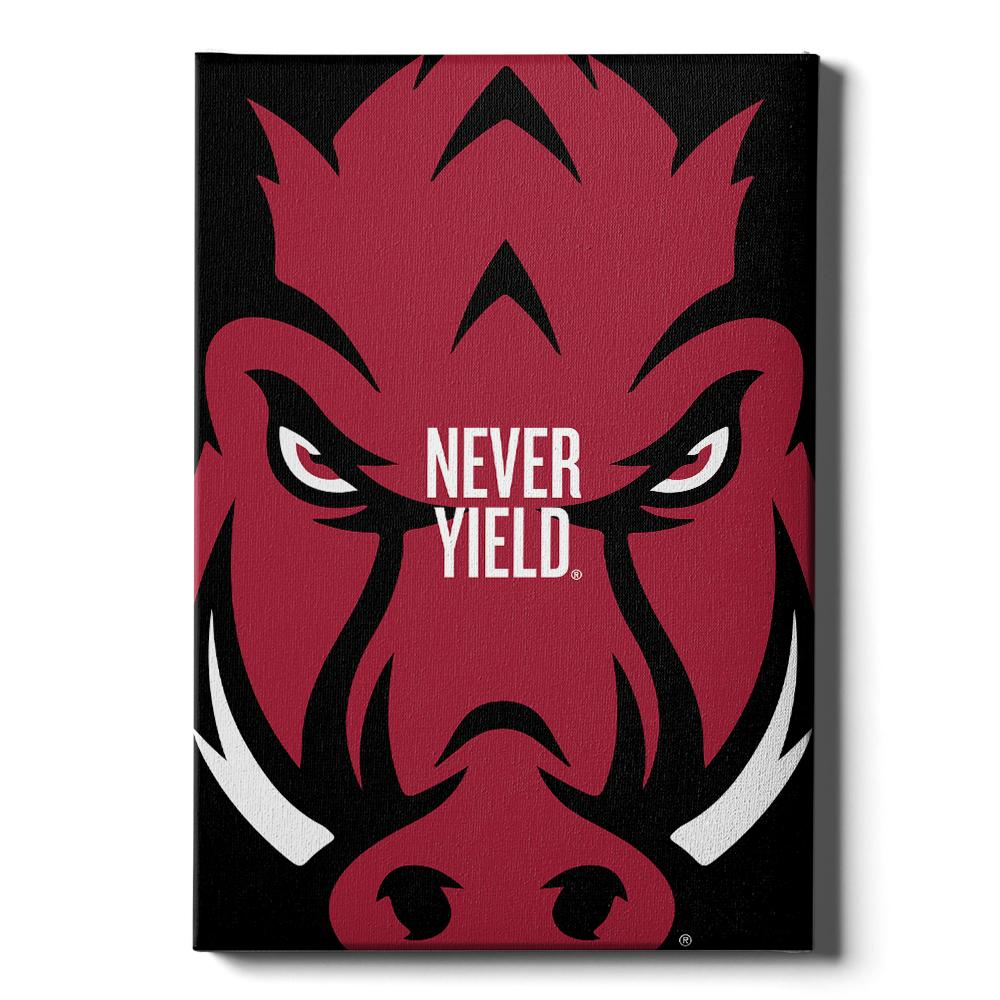 Arkansas Razorbacks - Arkansas Razorback Never Yield - College Wall Art #Canvas