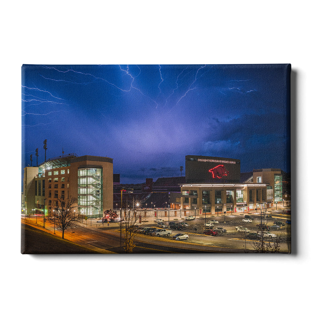 Arkansas Razorbacks - Lightning Over Donald W. Reynolds Razorback Stadium - College Wall Art #Canvas