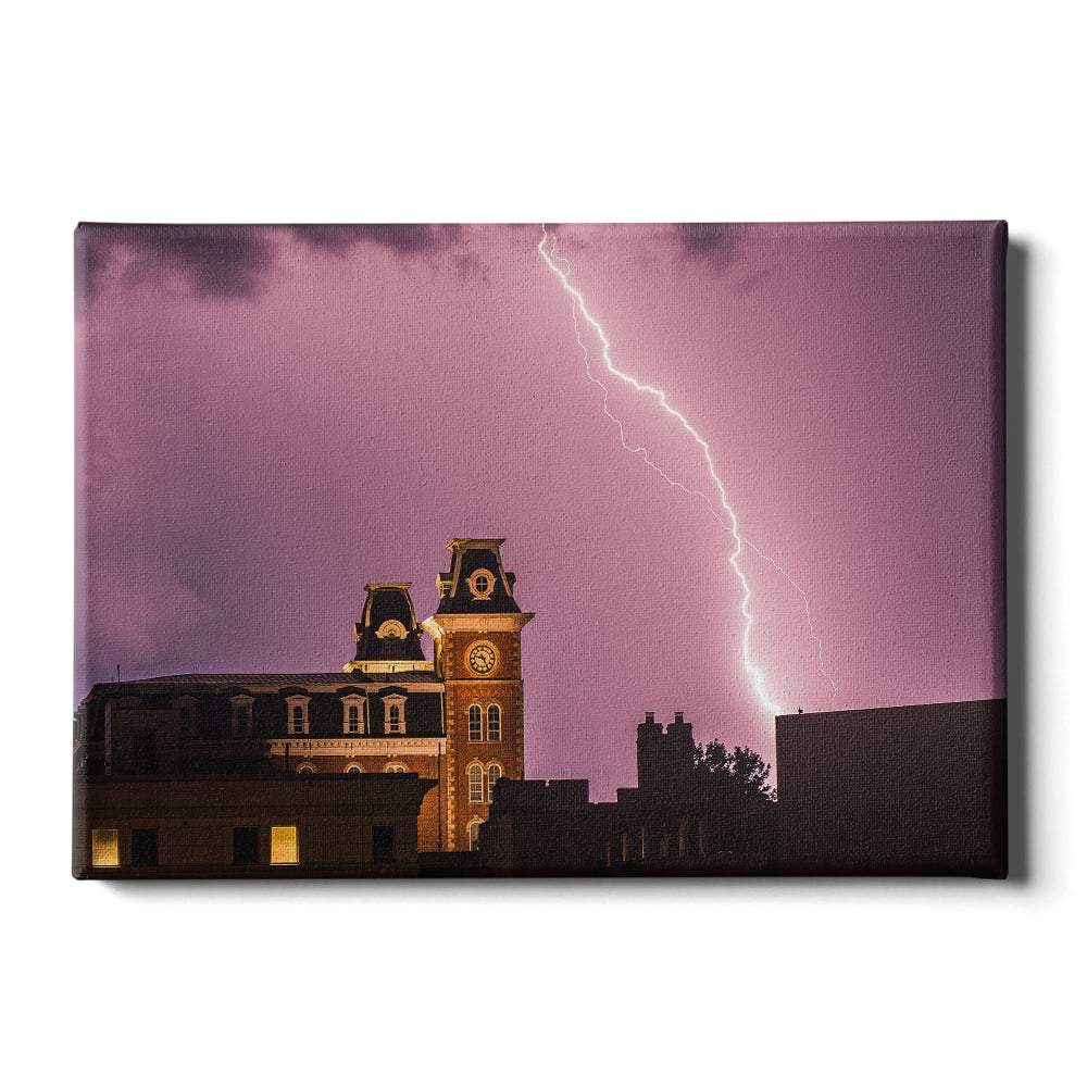 Arkansas Razorbacks - Old Main Lightning - College Wall Art #Canvas