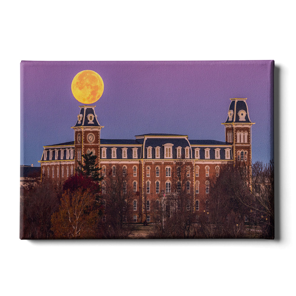 Arkansas Razorbacks - Moon Over Old Main - College Wall Art #Canvas