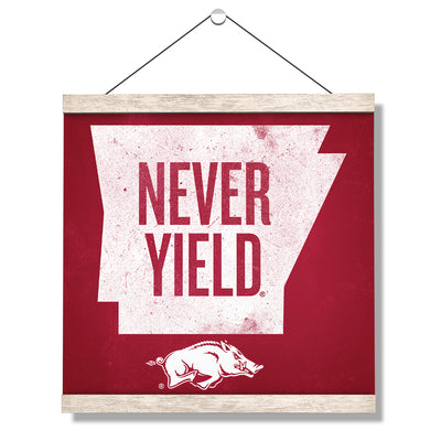 Arkansas Razorbacks - Arkansas Never Yield State - College Wall Art #Hanging Canvas