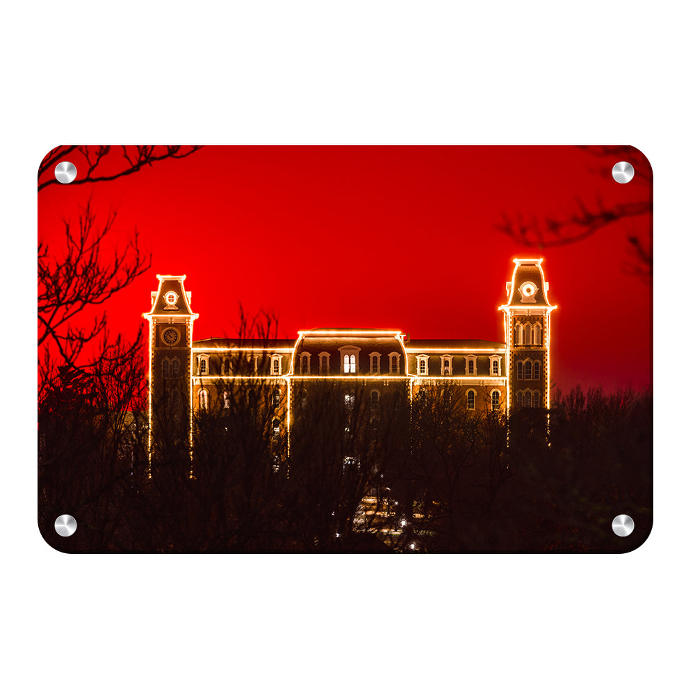 Arkansas Razorbacks - Red Christmas Old Main - College Wall Art #Canvas