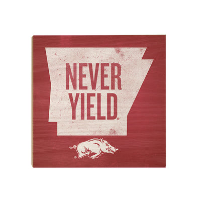 Arkansas Razorbacks - Arkansas Never Yield State - College Wall Art #Wood Art