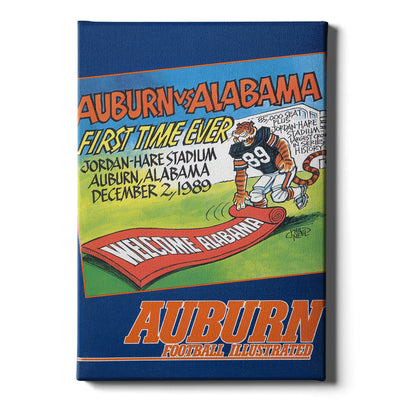 Auburn Tigers - Vintage Auburn vs Alabama-First Time Ever Jordan Hare 12.2.89 - College Wall Art #Canvas